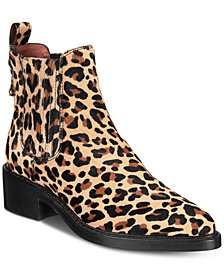 COACH Bowery Chelsea Leopard Ankle Booties