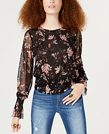 American Rag Juniors' Printed Mesh Smocked-Waist Blouse, Created for Macy's