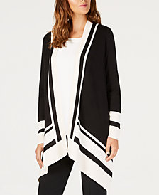 Anne Klein Draped Open-Front Cardigan