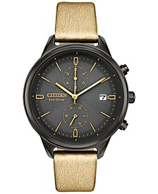 Eco-Drive Women's Chronograph Chandler Gold-Tone Vegan Leather Strap Watch 39mm