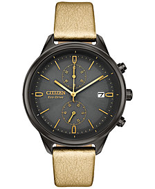 Citizen Eco-Drive Women's Chronograph Chandler Gold-Tone Vegan Leather Strap Watch 39mm
