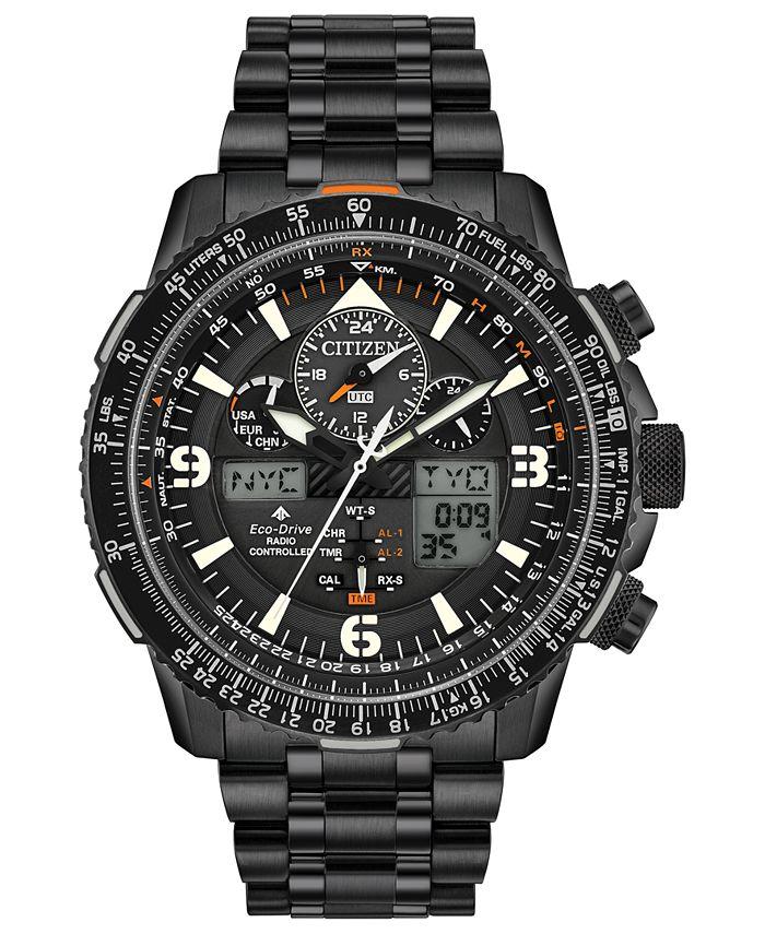 Citizen - Men's Analog-Digital Promaster Skyhawk A-T Black Stainless Steel Bracelet Watch 46mm