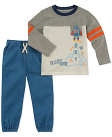 Kids Headquarters Toddler Boys 2-Pc. Rocket Ship Top & Jogger Pants Set