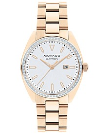 Women's Swiss Heritage Series Datron Diamond (1/4 ct. t.w.) Carnation Gold-Tone Stainless Steel Bracelet Watch 31mm
