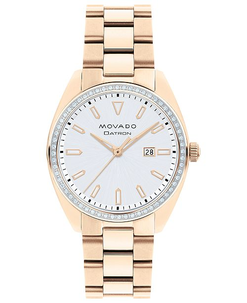 Movado Women's Swiss Heritage Series Datron Diamond (1/4 ct. t.w.) Carnation Gold-Tone Stainless Steel Bracelet Watch 31mm