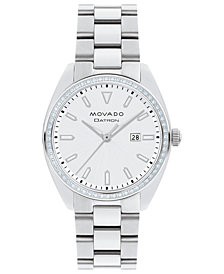 Movado Women's Swiss Heritage Series Datron Diamond (1/4 ct. t.w.) Stainless Steel Bracelet Watch 31mm