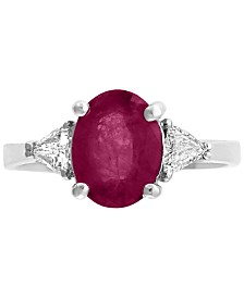 Gemstone Bridal by EFFY® Ruby (9/10 ct.t.w.) & Diamond (1/2 ct. t.w.) Ring in 18k White Gold(Also Available in Emerald)