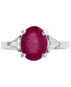 EFFY COLLECTION | Gemstone Bridal by Effy Ruby (9/10 ct.t.w.) & Diamond (1/2 ct. t.w.) Ring in 18k White Gold(Also Available in Emerald) | Goxip