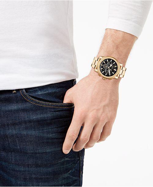 8a5f9ac3f1dc Michael Kors Men s Chronograph Grayson Gold-Tone Stainless Steel Bracelet Watch  47mm ...