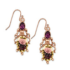 2028 Rose Gold-Tone Purple Crystal Flower Drop Earrings