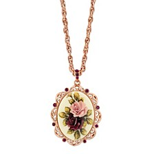 Rose Gold-Tone Purple Crystal Flower Oval Pendant Necklace 28""