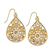 2028 Crystal Filigree Pearshape Earrings