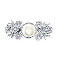 Silver-Tone Simulated Pearl Flower Barrette