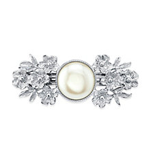 2028 Silver-Tone Simulated Pearl Flower Barrette