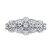 Silver-Tone Crystal Filigree Bar Barrette