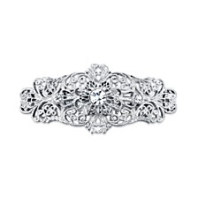 2028 Silver-Tone Crystal Filigree Bar Barrette