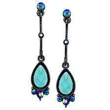 2028 Black-Tone Blue Linear Teardrop Earrings