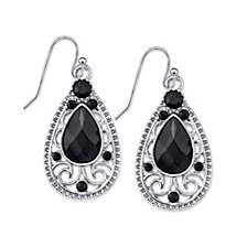 2028 Crystal Faceted Filigree Teardrop Earrings