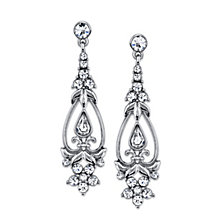 2028 Silver-Tone Vintage Crystal Drop Earrings
