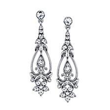 2028 Silver-Tone Vintage Crystal Drop Earrings