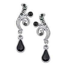 2028 Silver-Tone Black and Hematite Color Crystal Vine Drop Earrings