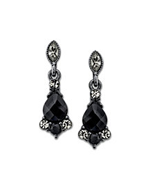 2028 Black-Tone Black and Gray Drop Earrings