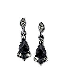 2028 Black-Tone Black and Gray Drop Earrings