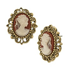 Gold-Tone Simulated Cameo Post Earrings