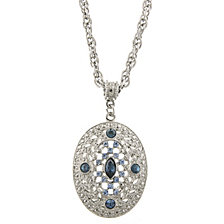 "2028 Silver-Tone Dark and Light Blue Crystal Filigree Oval Pendant Necklace 16"" Adjustable"