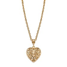 14K Gold-Dipped Filigree Heart with Swarovski Crystal Accent Necklace 18""