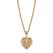 2028 14K Gold-Dipped Filigree Heart with Swarovski Crystal Accent Necklace 18""