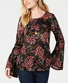 Style & Co Petite Printed Lace-Trim Top, Created for Macy's