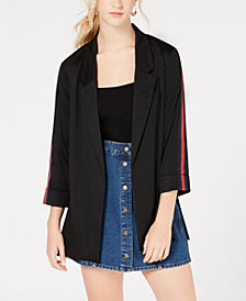 Almost Famous Juniors' Stripe-Sleeved Jacket