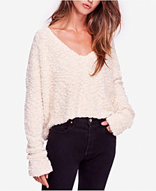Free People Popcorn Fuzzy V-Neck Sweater