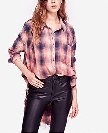 Free People Take On Me Studded Cotton Button-Up Shirt