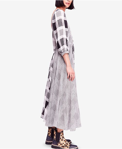 Free People Old Friends Cotton Mixed Plaid Maxi Dress