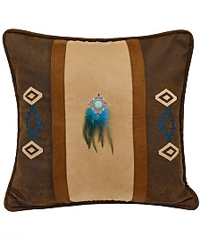 "Southwest Embroidered Faux Suede 18""x18"" Pillow"