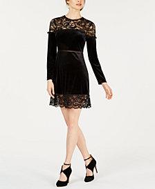 Avec Les Filles Velvet Lace-Trim Dress