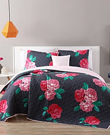 RoseMary Reversible 3-Pc. Twin XL Floral Quilt Set
