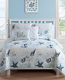 Shore Life Reversible 5-Pc. Full/Queen Quilt Set