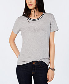 Tommy Hilfiger Striped-Neck Tonal-Brand Top, Created for Macy's