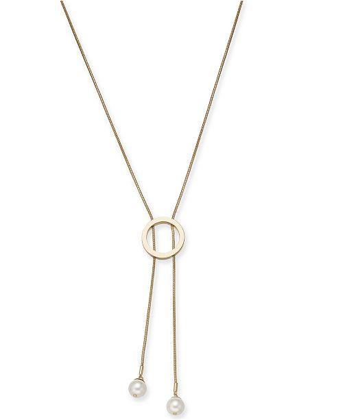 "Alfani Imitation Pearl Circle Lariat Necklace, 34"" + 2"" extender, Created for Macy's"