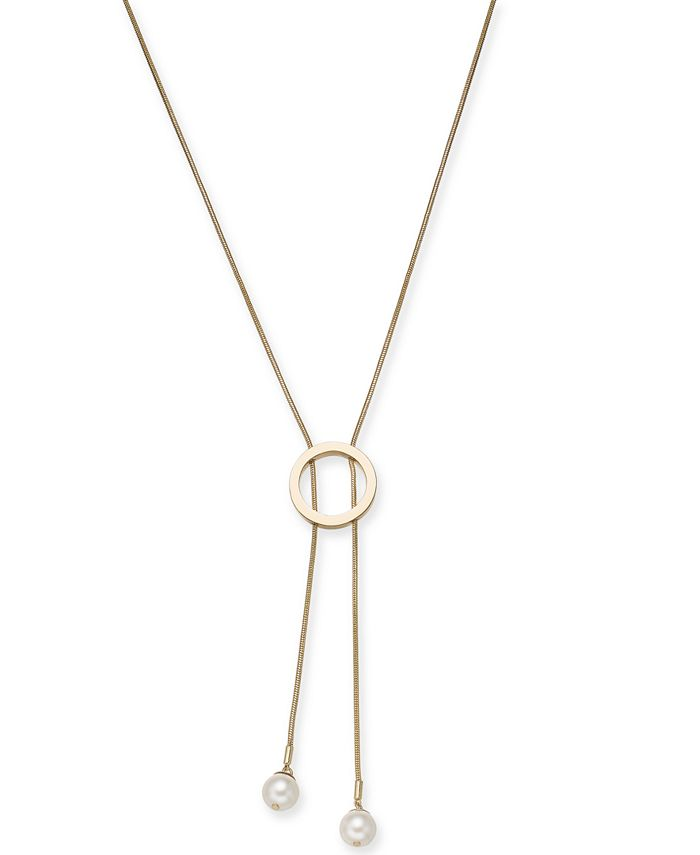 "Alfani - Imitation Pearl Circle Lariat Necklace, 34"" + 2"" extender"