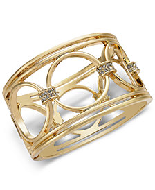 Alfani Gold-Tone Crystal Accent Openwork Hoop Wide Bracelet, Created for Macy's