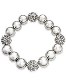 Silver-Tone Pavé Ball Stretch Bracelet, Created for Macy's
