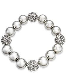 Alfani Silver-Tone Pavé Ball Stretch Bracelet, Created for Macy's