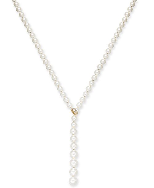 "Charter Club Pavé & Imitation Pearl 36"" Lariat Necklace, Created for Macy's"