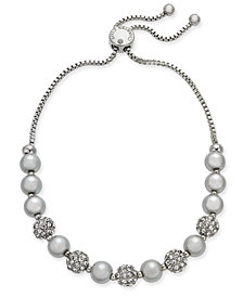 Charter Club Silver-Tone Pavé Ball & Imitation Pearl Slider Bracelet, Created for Macy's