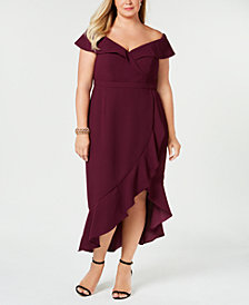XSCAPE Plus Size Ruffled Off-The-Shoulder Dress