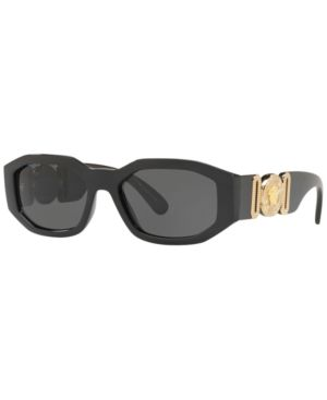 Chunky Rectangle Sunglasses W/ Logo Disc Arms in Black / Grey from Sunglass Hut